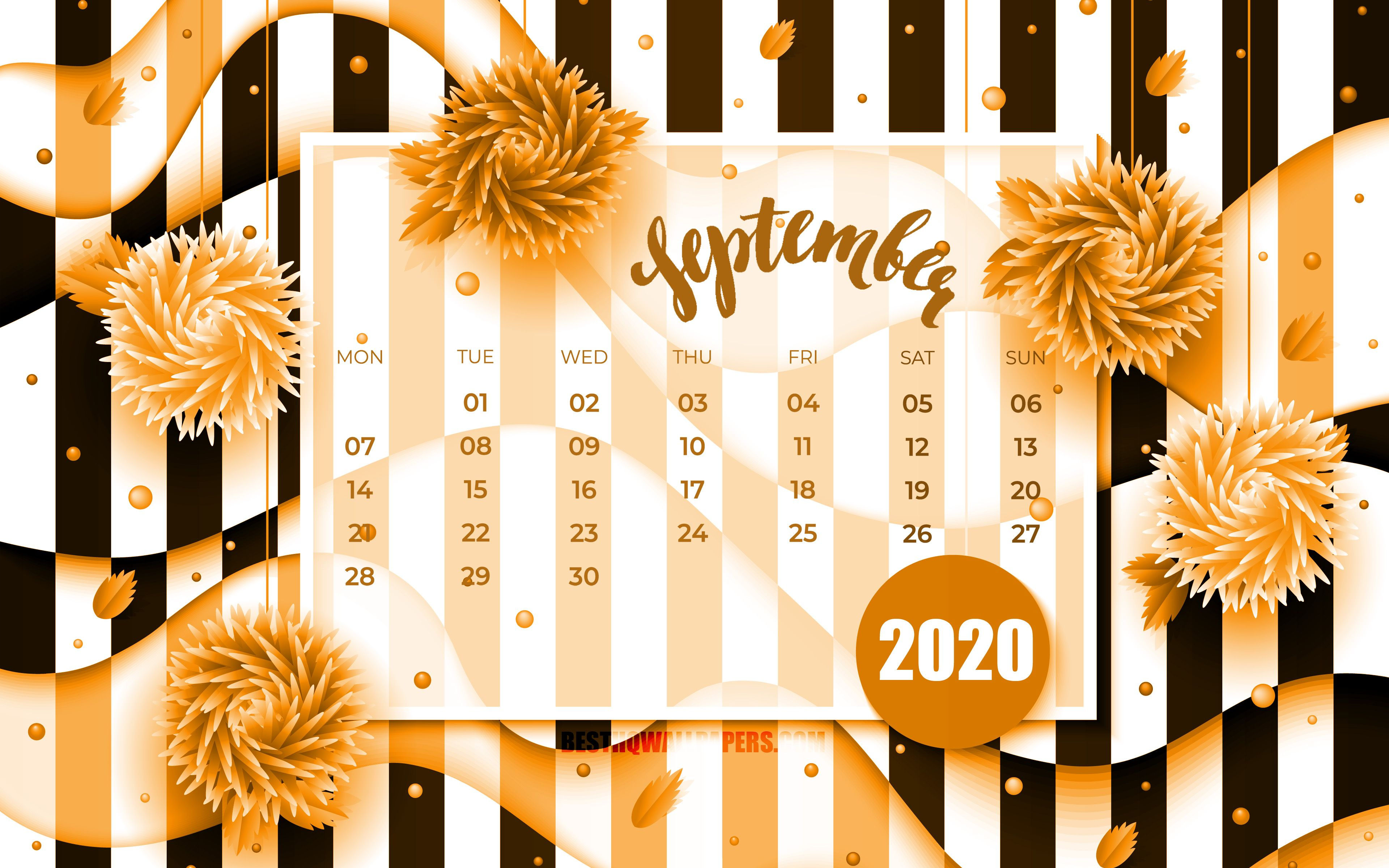 Download wallpapers September 2020 Calendar, 4k, orange 3D flowers, 2020 calendar, autumn calendars, September 2020, creative, September 2020 calendar with flowers, Calendar September 2020, artwork, 2020 calendars, 2020 September Calendar for desktop