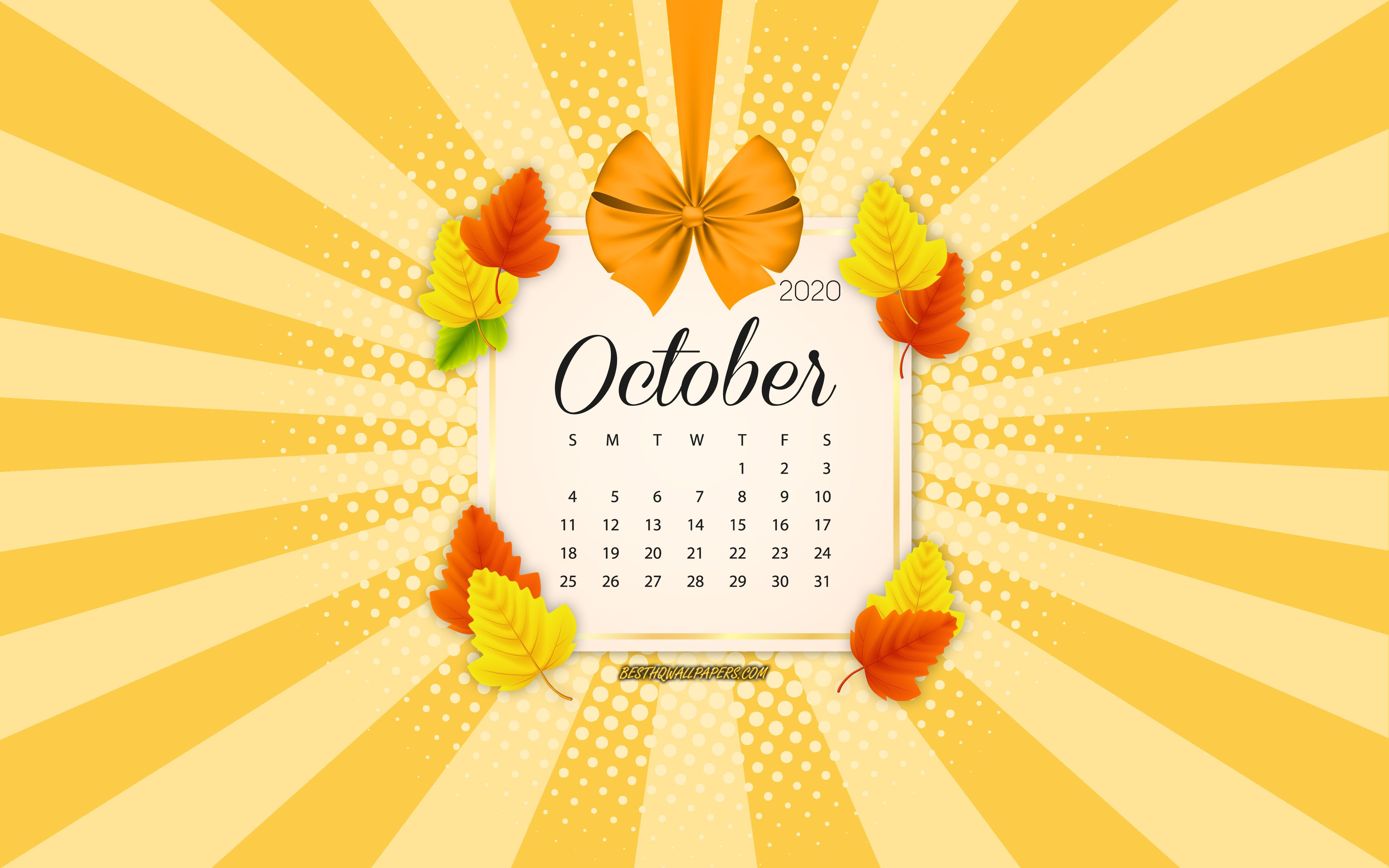 Download wallpapers 2020 October Calendar, orange background, autumn 2020 calendars, October, 2020 calendars, autumn leaves, retro style, October 2020 Calendar, calendar with leaves for desktop with resolution 3840x2400. High Quality HD pictures wallpapers