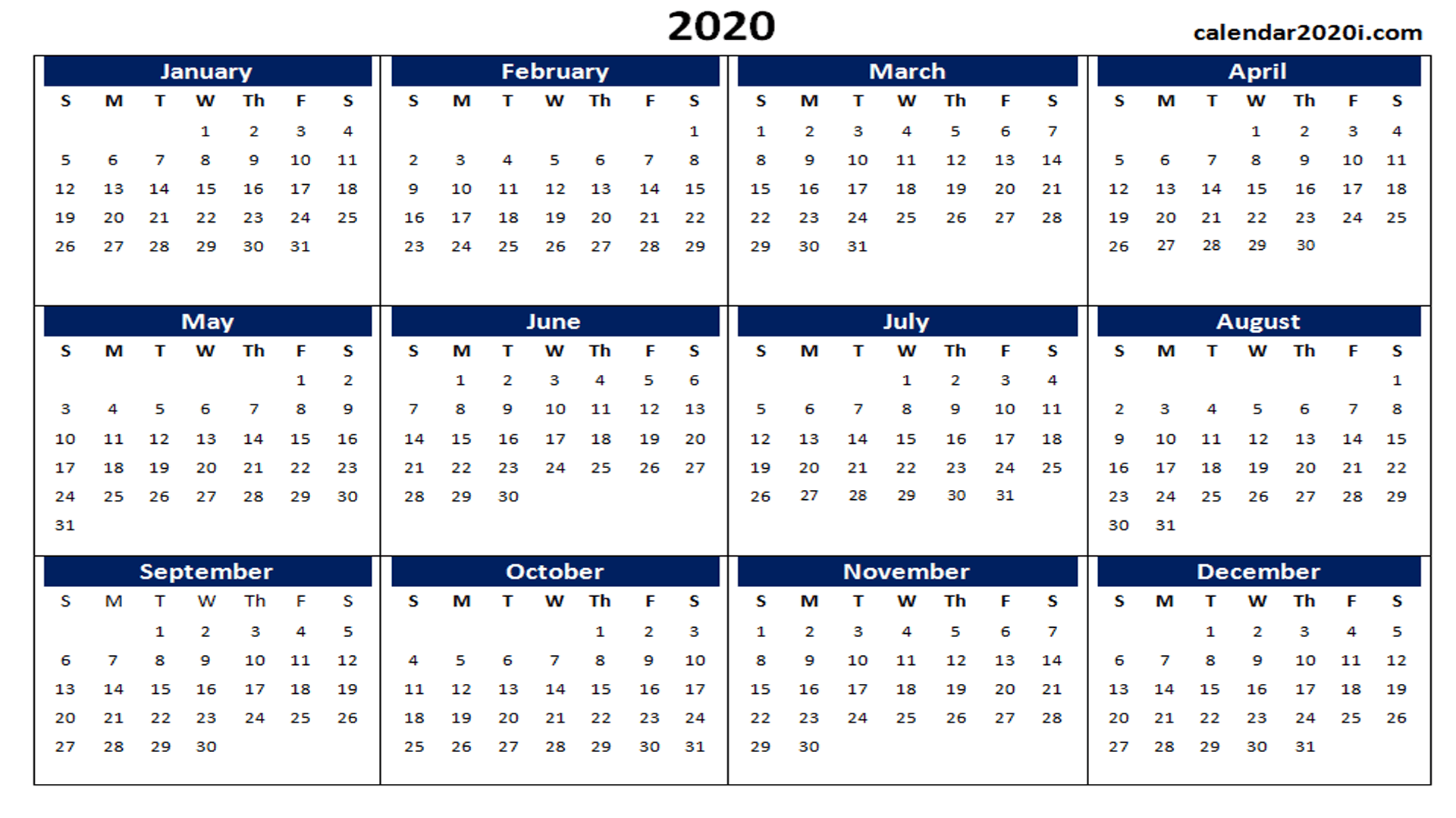 US 2020 Calendar Yearly 12 Month Printable