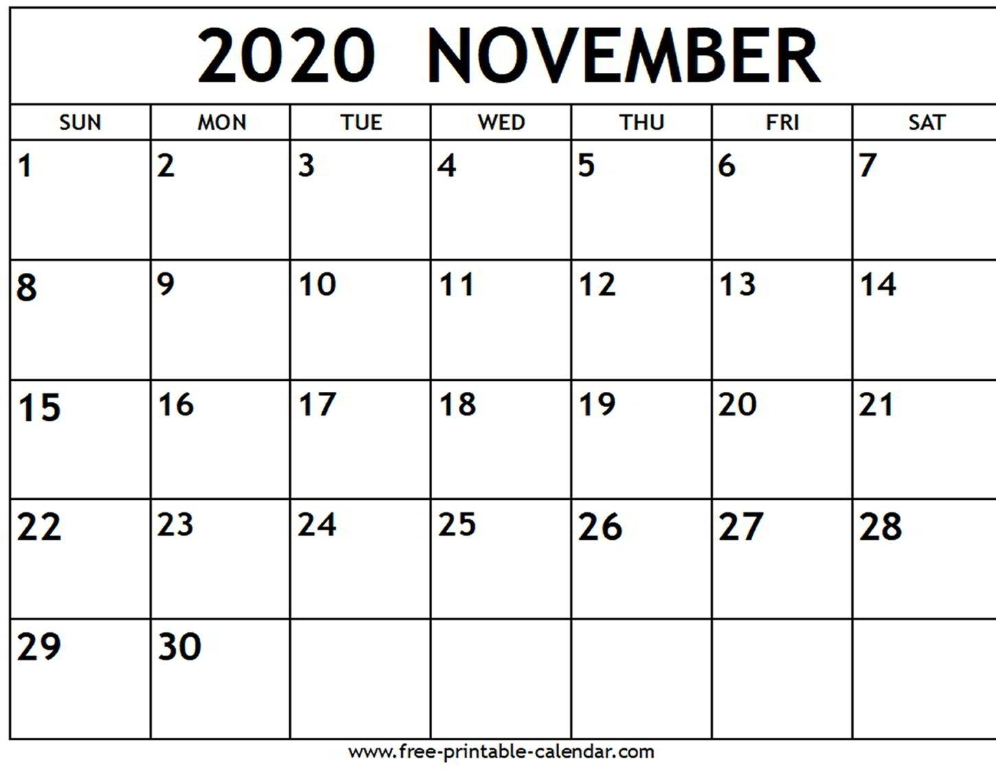 November 2020 Calendar Wallpapers