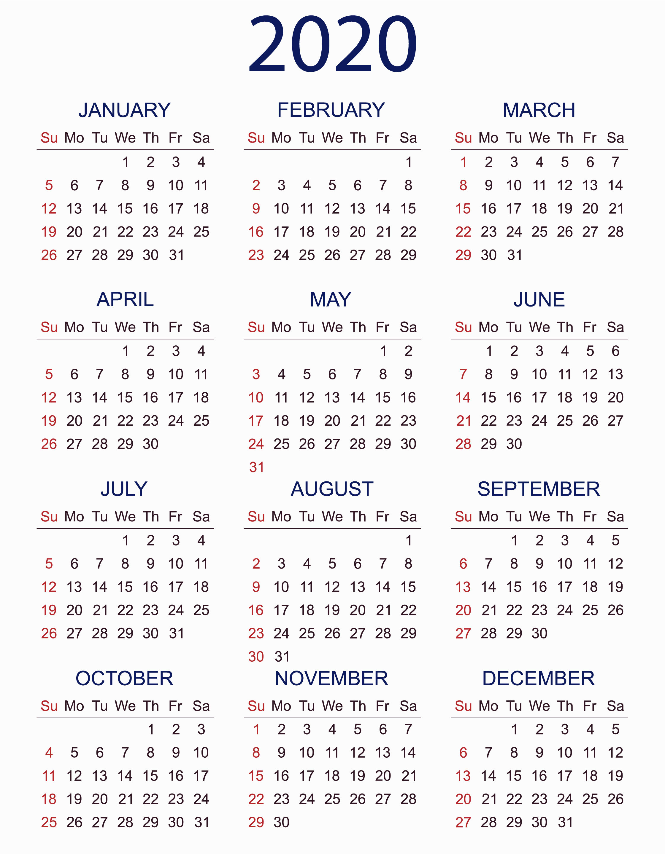 Calendar 2020 Printable With Holidays