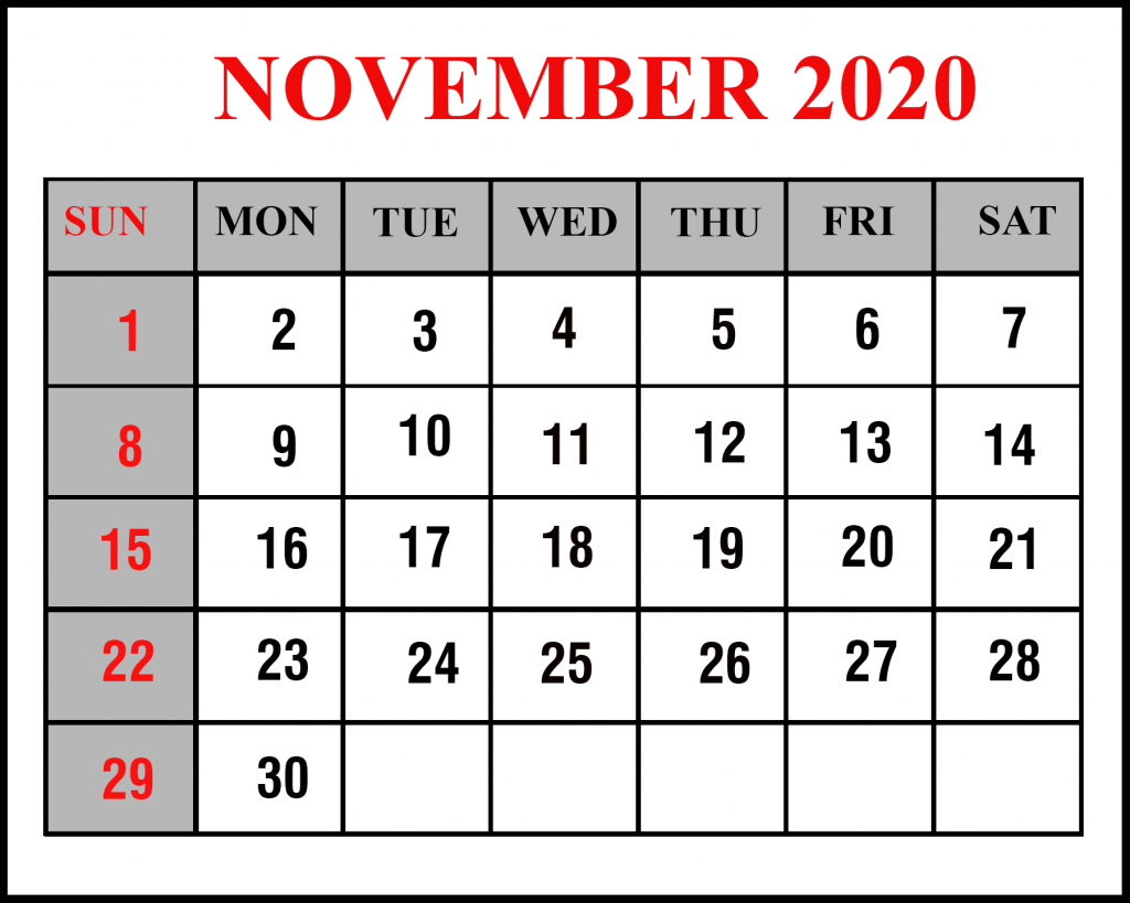 Free Printable November 2020 Calendar Template – PDF, Word