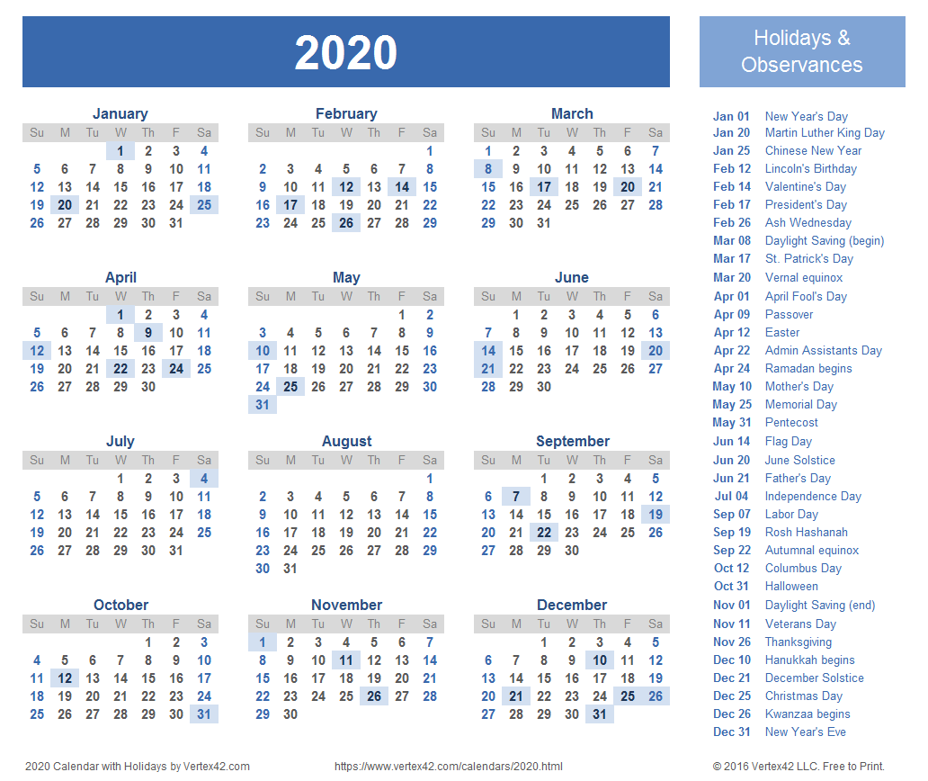 2020 Calendar Templates and Image