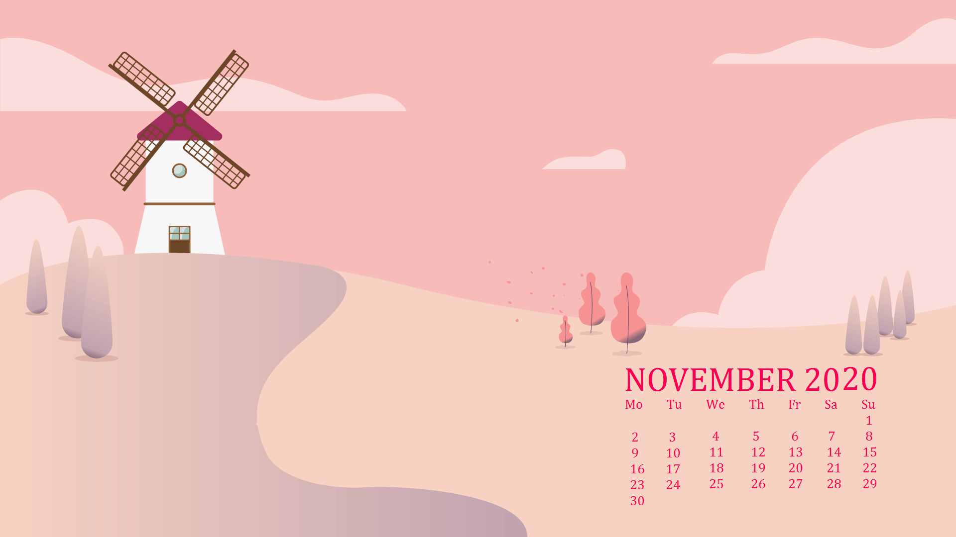 November 2020 Desktop Calendar Wallpapers in 2020