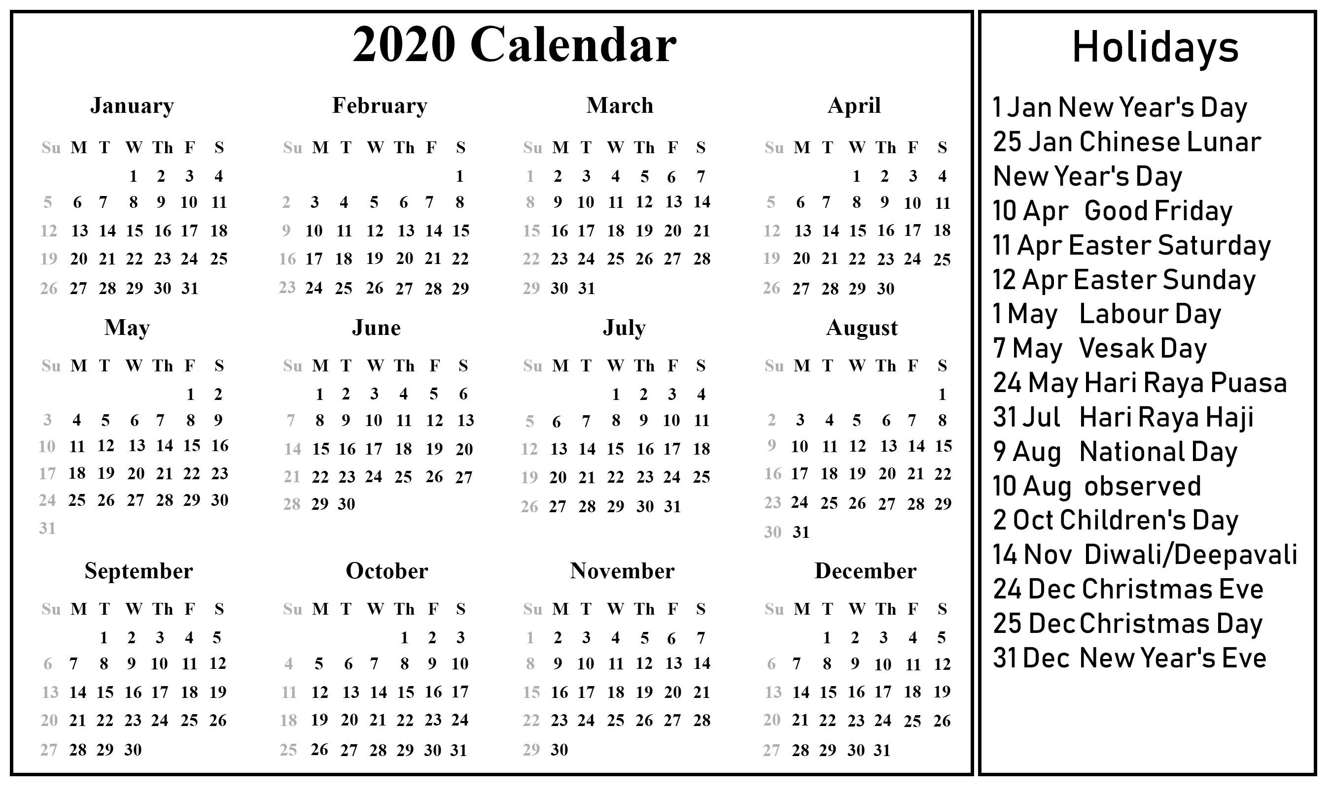 Singapore 2020 Printable Holidays Calendar