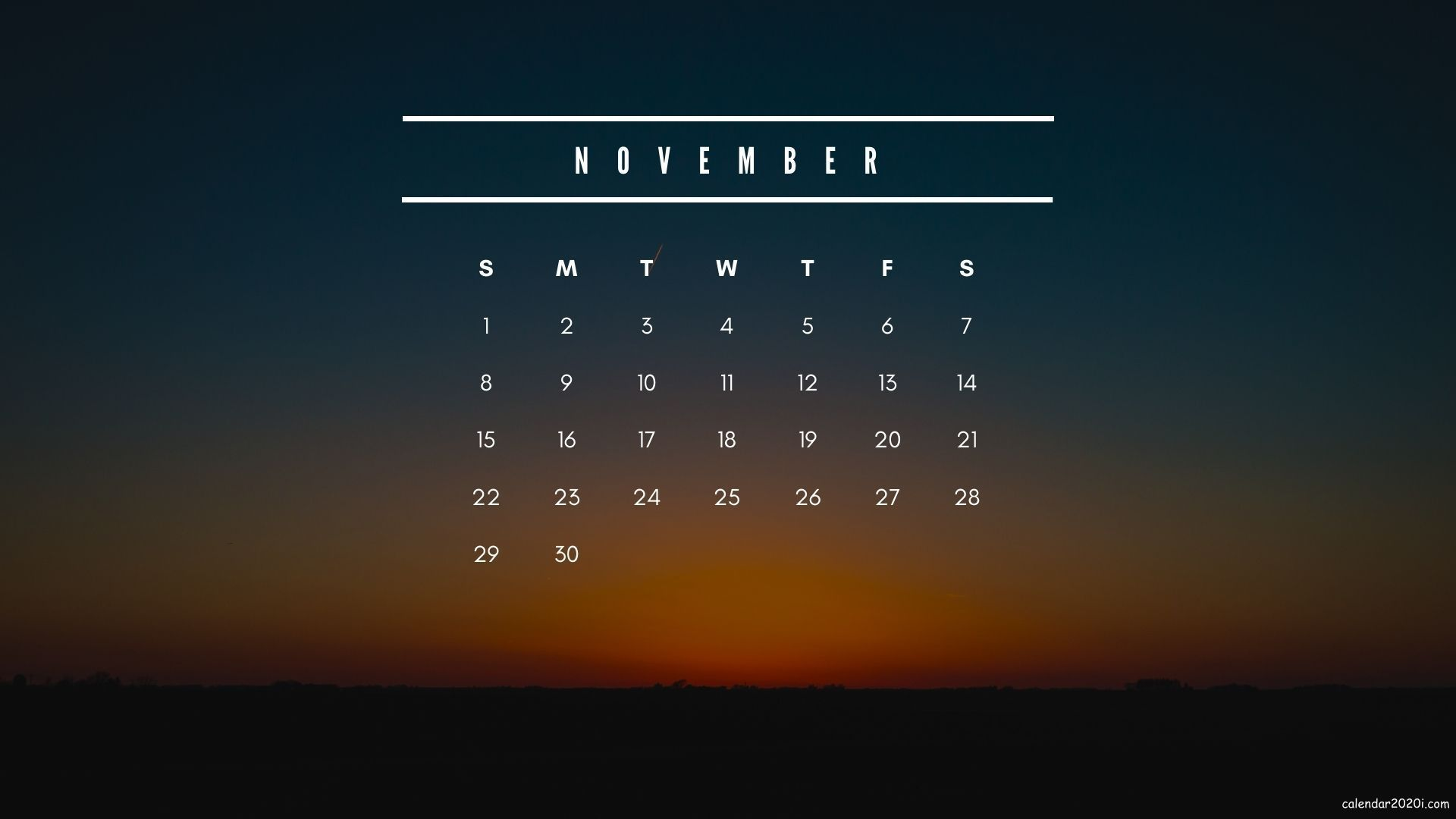 November 2020 Calendar Wallpapers for desktop backgrounds screen in 2020