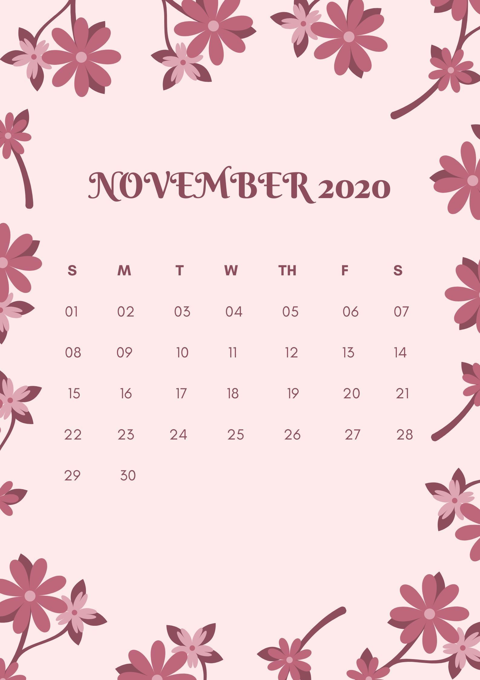 10 Best November 2020 Calendar Ideas and Inpiration Design Pink Flower in 2020