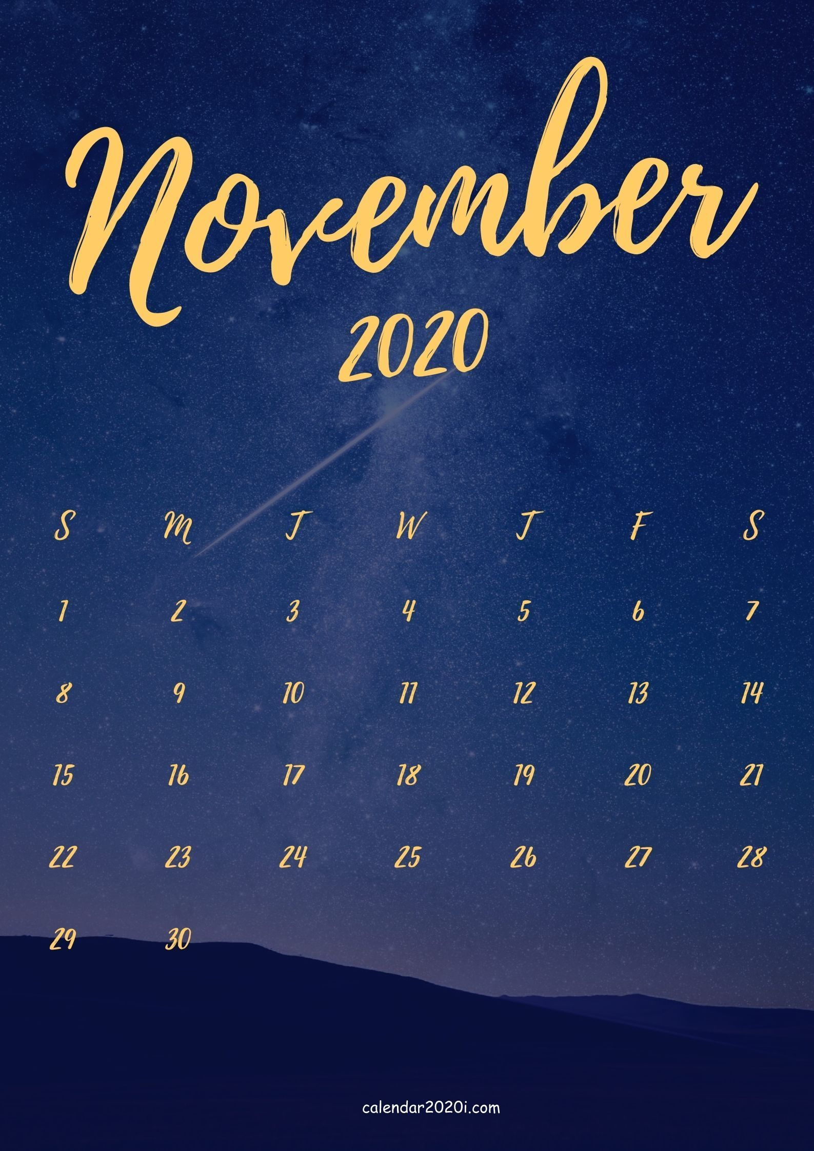 Free November 2020 iPhone calendar wallpapers in HD for mobile screen backgrounds in 2020