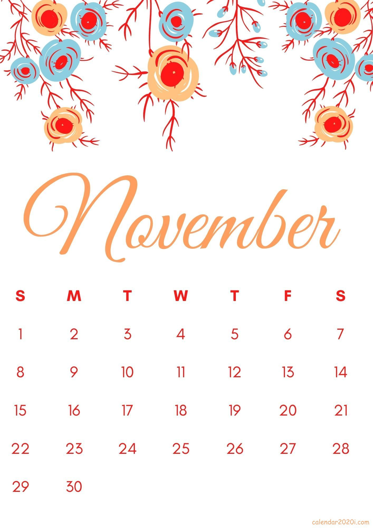 Floral November 2020 Calendar Printable Free Download