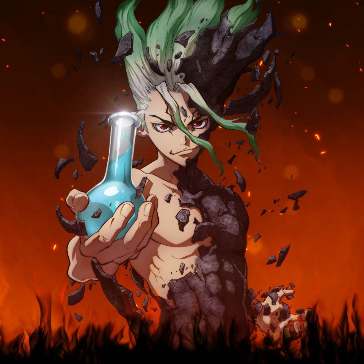Anime boy, artwork, Senku Ishigami, Dr. Stone, 1224x1224