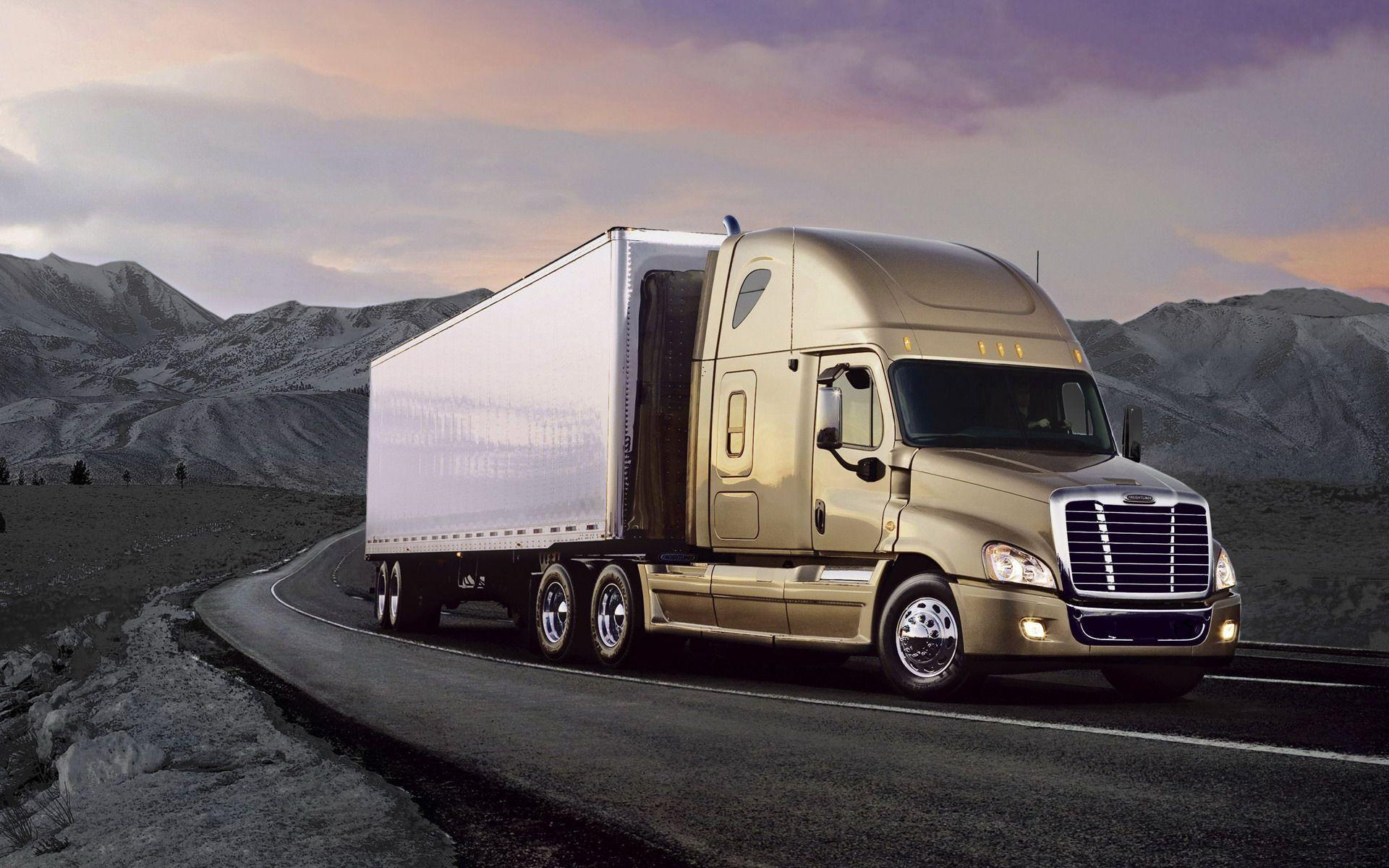 Powerful Freightliner truck on the road