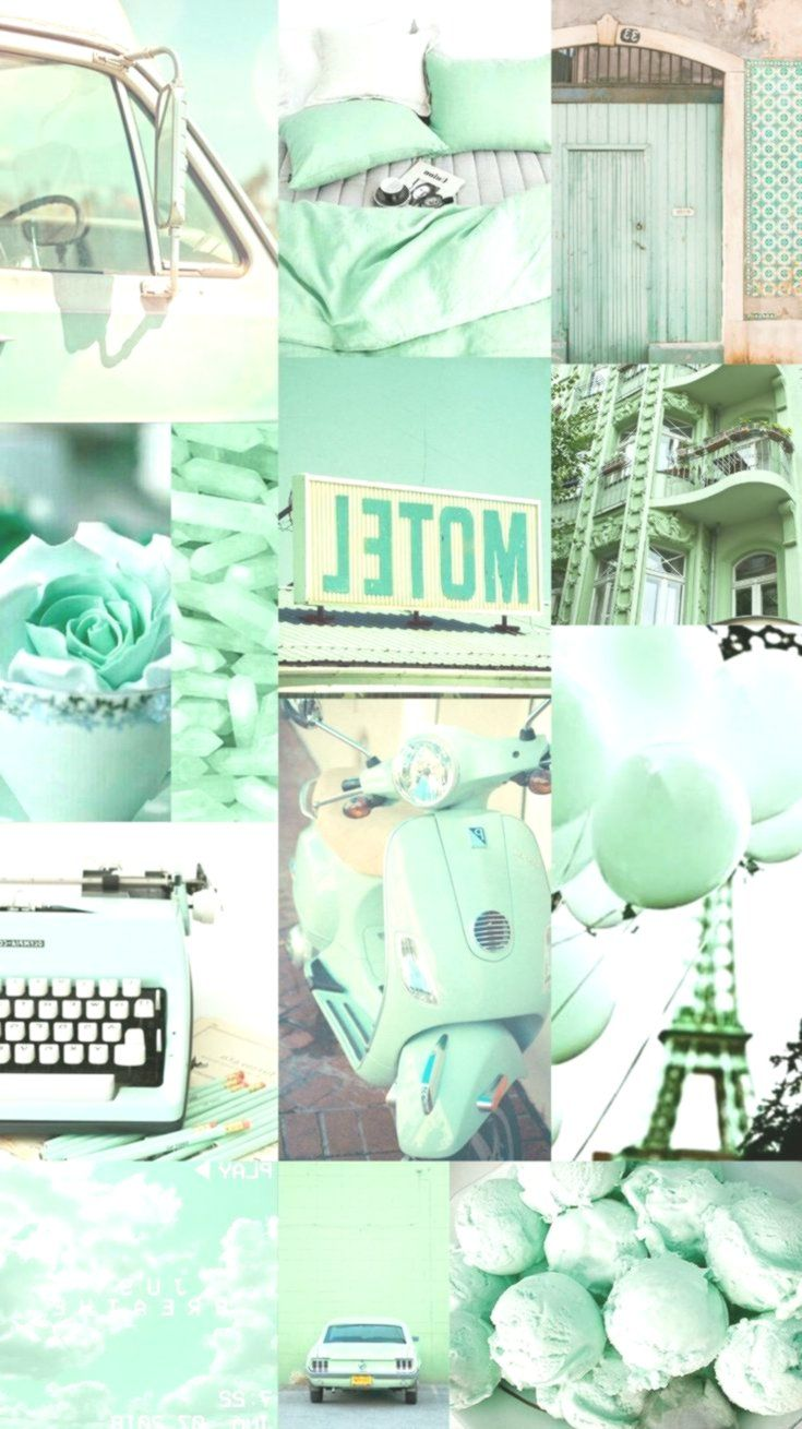 Wallpaper, background, collage, aesthetic, music, color, mint, green, paris