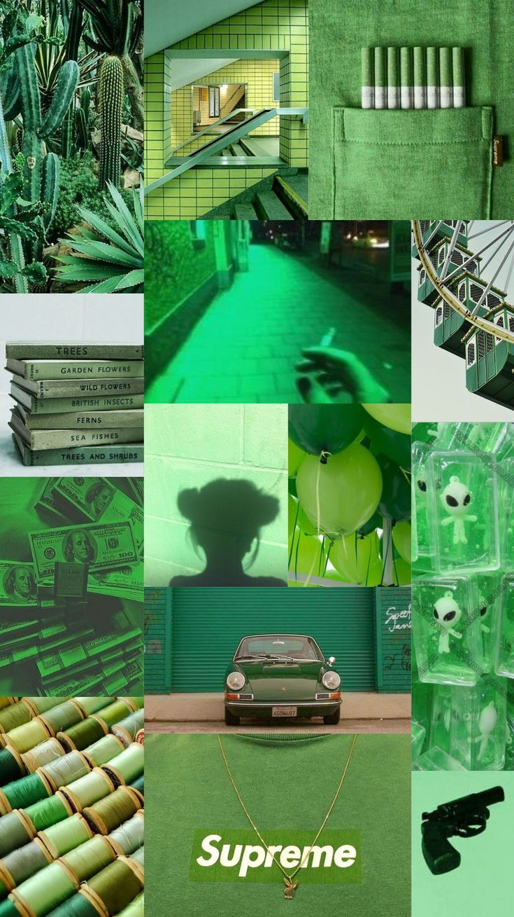 Light Green Aesthetic Collage Wallpapers