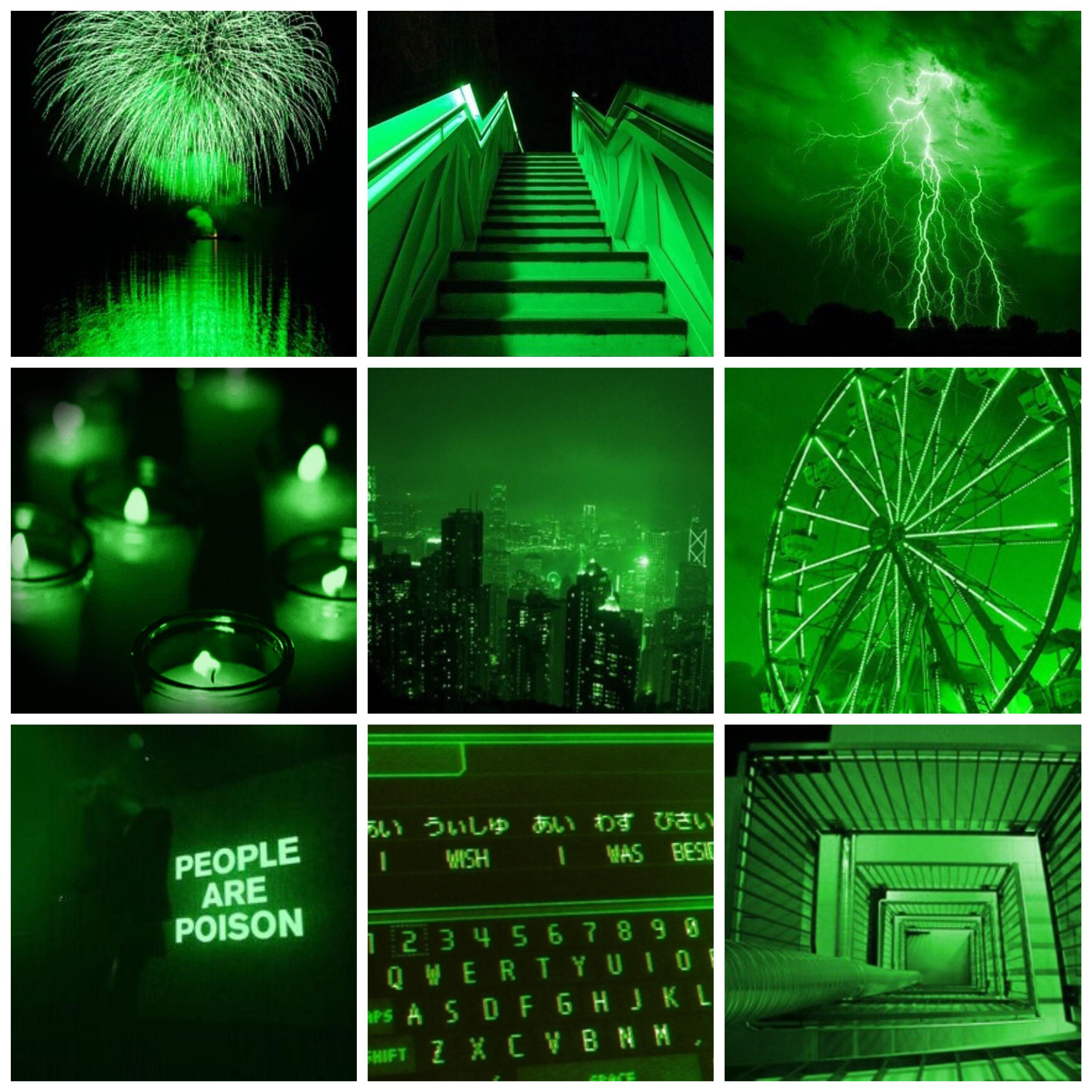 Green aesthetic wallpapers collage: AestheticWallpapers