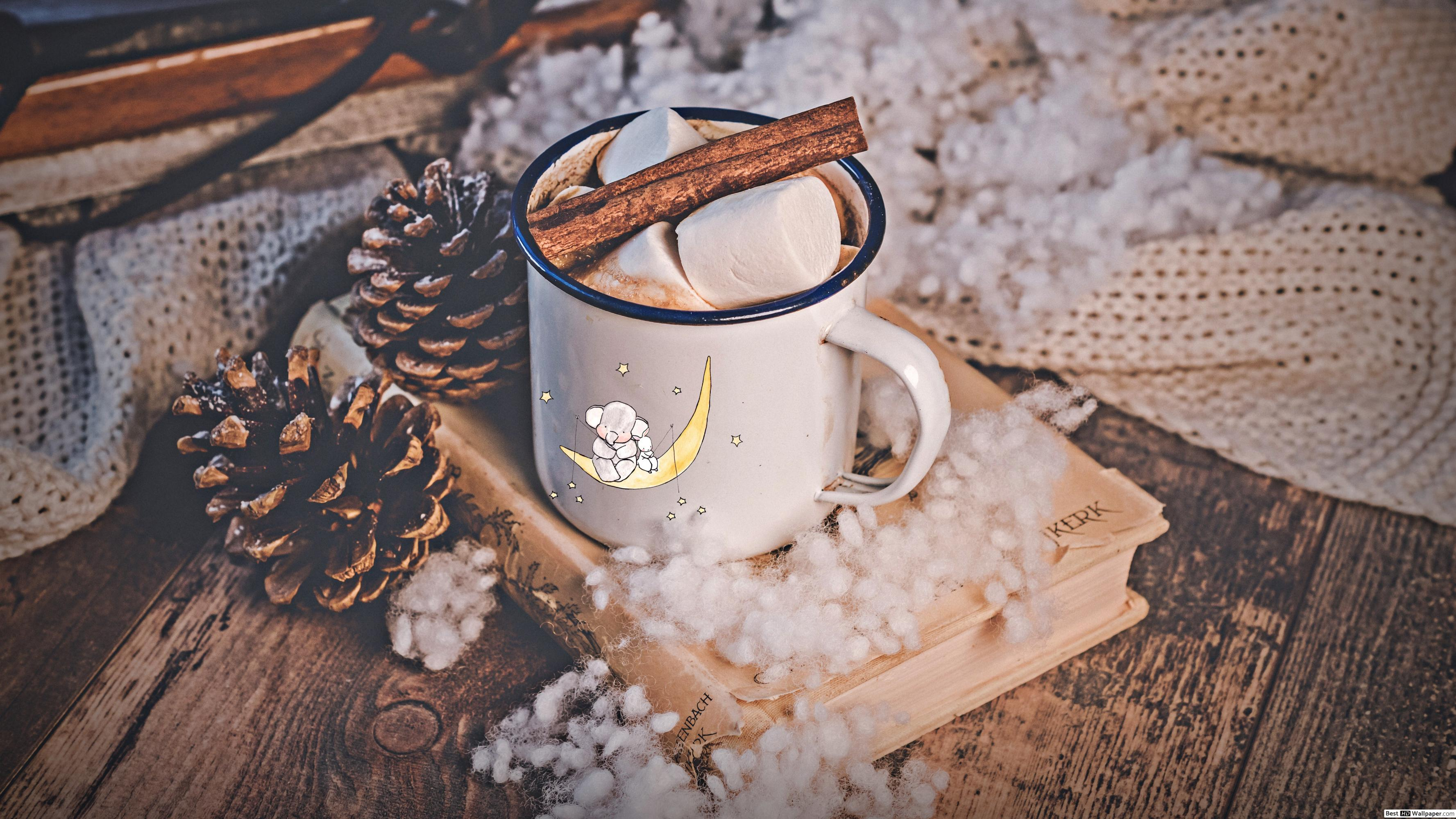 Warm hot Choco with cinnamon and Marshmallow in a white cup aesthetic wallpapers HD wallpapers download
