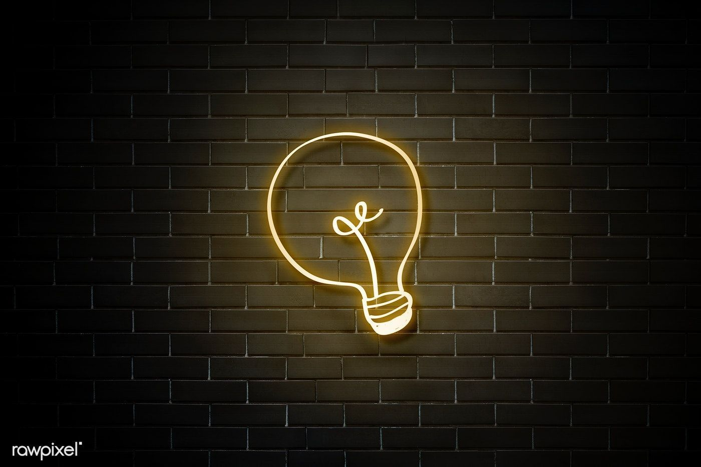 Download premium psd of Neon yellow bulb on a walll 894316