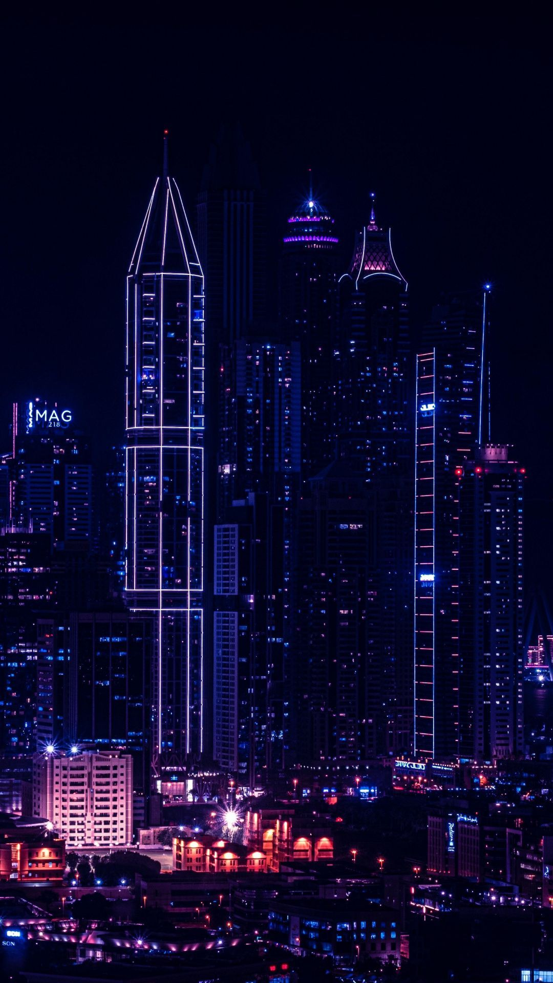 1080x1920 City, night, lights of buildings, cityscape wallpapers