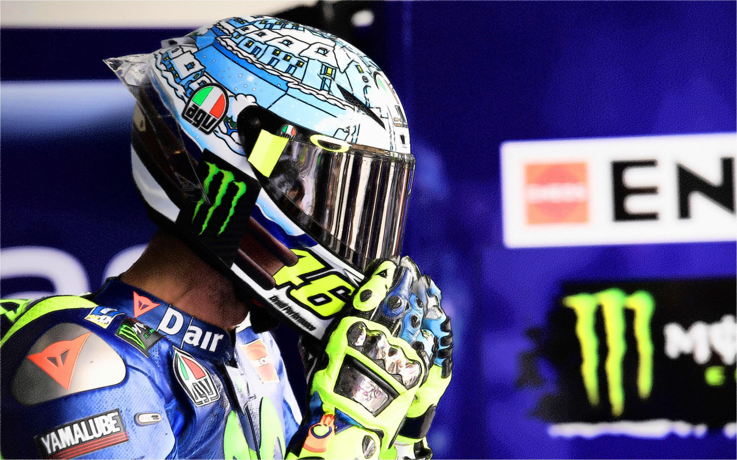 Download wallpapers Valentino Rossi, art, sportbikes, drawings