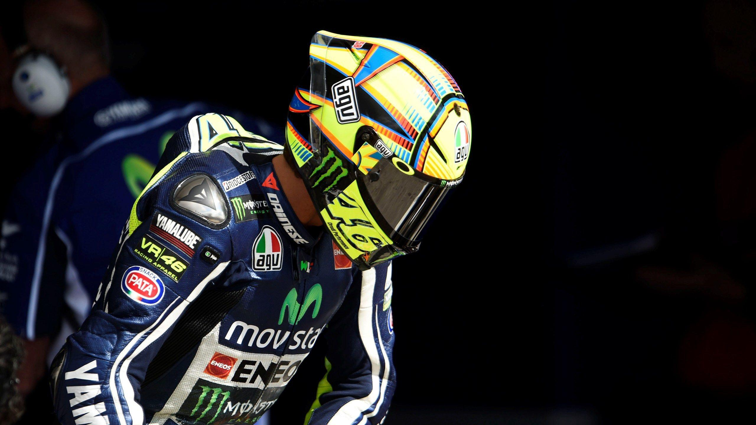 Download wallpapers 2560x1440 valentino rossi, yamaha, motorcycle