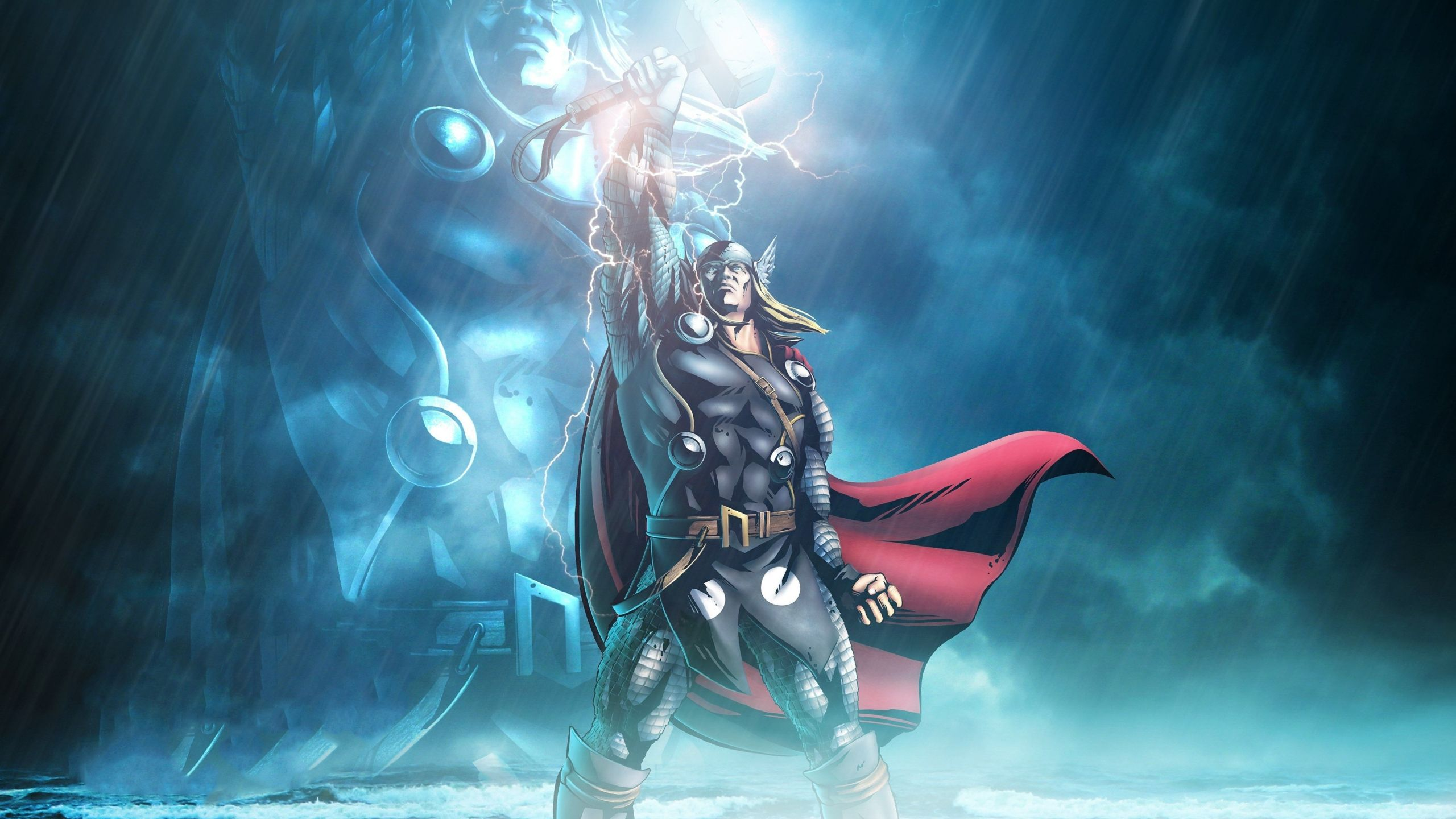 Download 2560x1440 wallpapers marvel, lightning god, thor, art, dual wide, widescreen 16:9, widescreen, 2560x1440 hd image, background, 16858